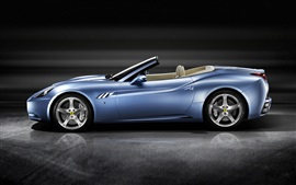 Preview wallpaper Ferrari California blue sports car side view