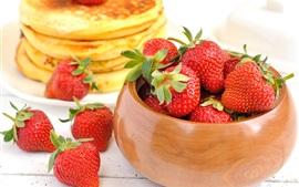 Aperçu fond d'écran Alimentaires, fraises, crêpes de fruits