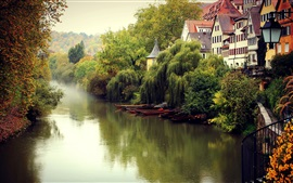 Preview wallpaper Germany landscape, fall, fog, river, boats, trees, houses