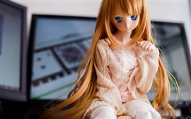 Preview wallpaper Golden hair girl, doll, toy, blue eyes