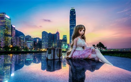 Preview wallpaper Hong Kong, China, city, buildings, toy, doll, beautiful girl