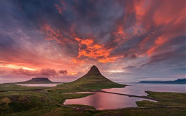 Preview wallpaper Iceland, Kirkjufell mountain, summer, sky, clouds, sunset
