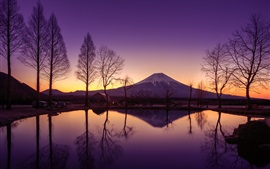 Preview wallpaper Japan, Honshu, volcano, Fuji mountain, morning, water, reflection