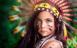 Preview wallpaper Little Indian girl, headpiece, warrior, colors