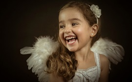 Preview wallpaper Little angel, cute girl, laughing, portrait