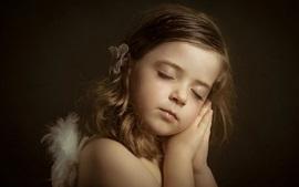 미리보기 배경 화면 작은 천사, 귀여운 소녀, 수면