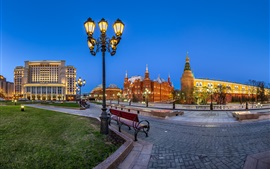 Preview wallpaper Manezh Square, Moscow, Russia, Kremlin, lights, night
