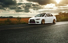 Preview wallpaper Mitsubishi Lancer Evolution X white car
