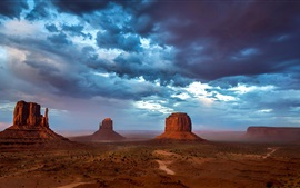 Preview wallpaper Monument Valley, USA, mountains, sky, blue clouds, evening