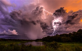 Nature, thunder, lightning, clouds, sky, evening, lake, trees