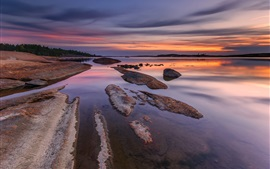 Preview wallpaper Norway, river, beach, stones, evening, sunset, sky, clouds
