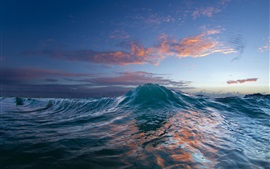 Ocean, sunset, sea wave, water Wallpapers Pictures Photos Images