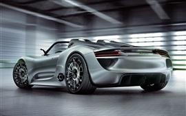 Vorschau des Hintergrundbilder Porsche 918 Spyder Konzept Supersportwagen Rückansicht
