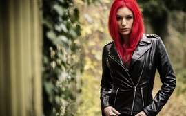 Preview wallpaper Red hair girl, leather jacket