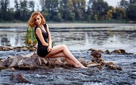 Preview wallpaper River, stones, girl, black dress