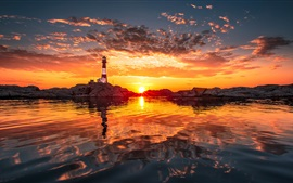 Preview wallpaper Shore, lighthouse, sunset, clouds, water reflection, red sky
