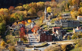 Preview wallpaper Small town, autumn, houses, road, trees, tilt-shift photography