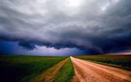 Aperçu fond d'écran Tempête, nuages, ciel, champs, route