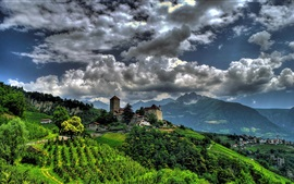 Preview wallpaper Tirol Village, South Tyrol, Italy, Tirol Castle, village, mountains, clouds