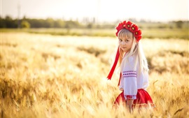 Ukraine, cute little girl, wheat field Wallpapers Pictures Photos Images