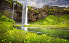 Waterfall, river, summer, nature landscape