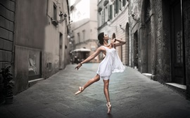Preview wallpaper White dress girl dance in the street