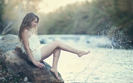 Preview wallpaper White dress girl, legs, water splash