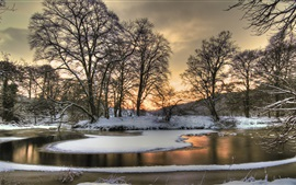 Preview wallpaper Winter snow, nature landscape, river, trees, dusk