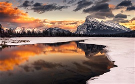 Preview wallpaper Winter, snow, sunset, mountain, lake, reflection, trees