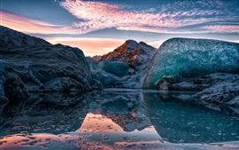 Alaska, lago, hielo, cielo, montañas, invierno