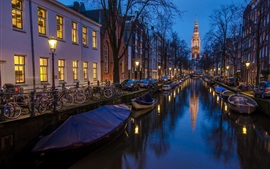 Amsterdam, Holland, houses, boat, river, night