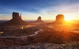 Arizona, Monument Valley, pôr do sol, montanhas, deserto