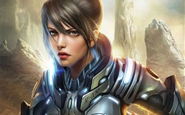 Aperçu fond d'écran Art fille fantastique, une armure de métal