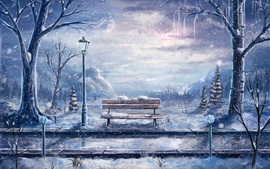 Art painting, winter, snow, bench, lantern, trees