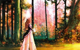 Art pictures, forest, girl, trees, magic, colorful