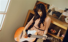 Preview wallpaper Asian girl, guitar, room, music