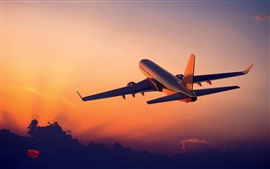 Preview wallpaper Aviation, aircraft, flight, sunrise, clouds, sky