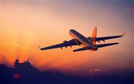 Aviação, aviões, vôo, nascer do sol, nuvens, céu