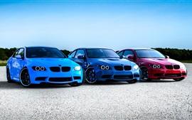 BMW M3 E92, carros azuis vermelhas