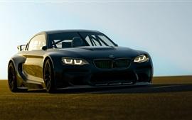 BMW Vista delantera del coche negro, luces
