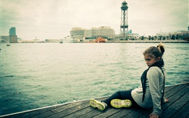 Preview wallpaper Barcelona girl, dock, city