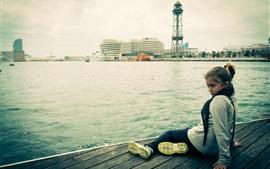 Barcelona, chica, muelle, ciudad