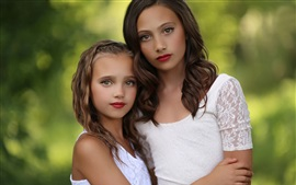 Preview wallpaper Beautiful girls, children, sisters, portrait