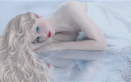 Preview wallpaper Blonde girl, face, red lips, white dress, lying bed