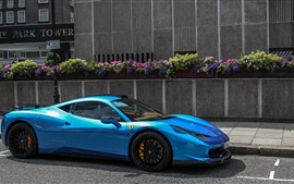 Preview wallpaper Blue Ferrari 458 Italia Hamann supercar