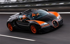 Preview wallpaper Bugatti Veyron 16.4 Grand Sport supercar at race