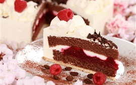 Preview wallpaper Cake, slice, berry, raspberry, cream, chocolate, dessert