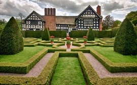 Preview wallpaper Cheshire, England, mansion, park, garden, trees, shrubs, flowers
