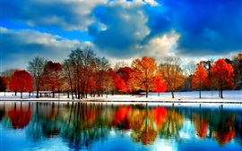 Preview wallpaper Clouds, river, snow, trees, autumn