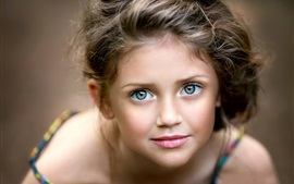 Preview wallpaper Cute little girl, portrait, face, eyes